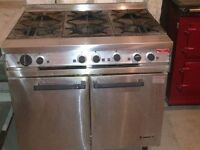 Dominator Falcon mKII six ring commercial cooker and double oven