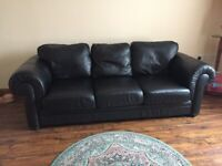 Leather sofas. 3 and 2 seater black leather.