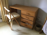 Bedroom/Study desk with set of drawers, folding chair and Mirror