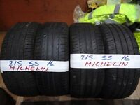 matching set of 215 55 16 michelins 5-6mm tread £90 set sup & fittd(LOADS MORE AV 7-DAYS)