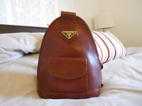 Prada backpack style brown leather handbag / bag