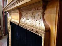 Antique Pine Carved Fireplace Surround