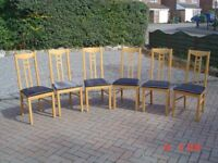 Six Padded Upholstered High Backed Wooden Dining Chairs. £10 each Will Sell Separately. Can Deliver.