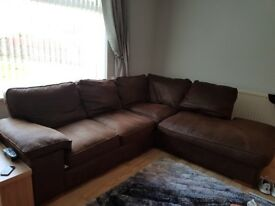 Brown Corner sofa. Very good condition and super comfy.