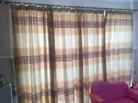 Silk curtains with tie back