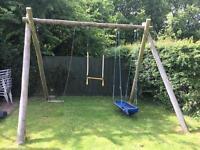 Large wooden swing/bars/boat set