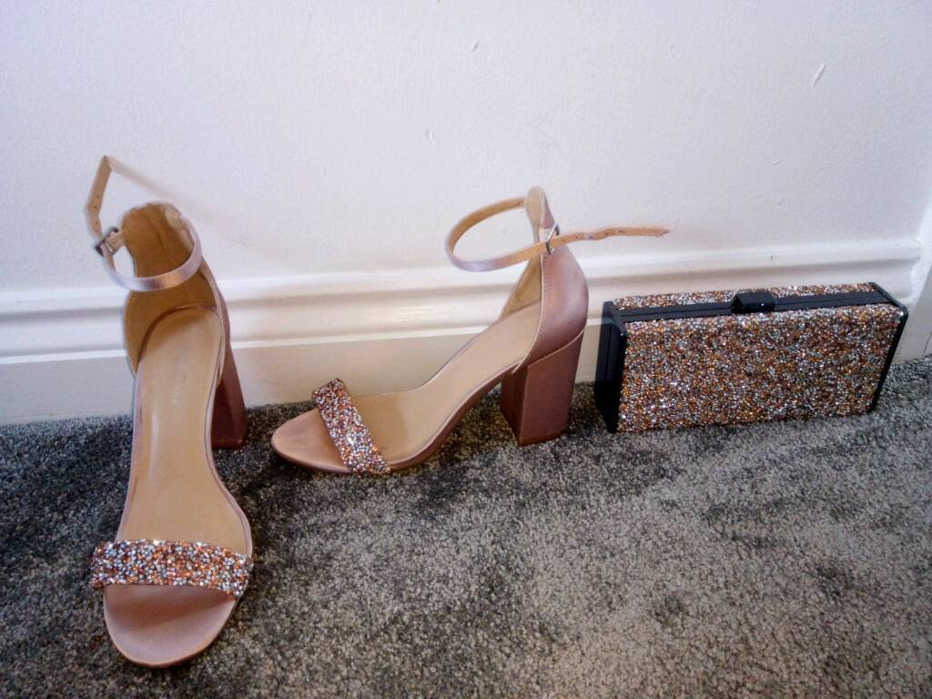Pink & silver sparkley shoes with matching clutch, size 5