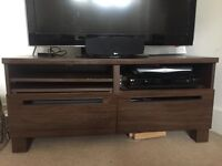 Dark brown TV Stand, shelves and drawers
