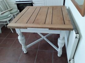 Square shabby chic extending dining kitchen table