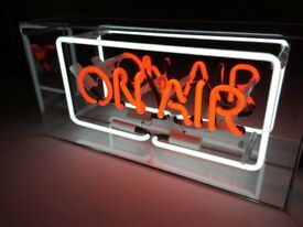 Brand new glass neon 'ON AIR' acrylic box light with AC adapter