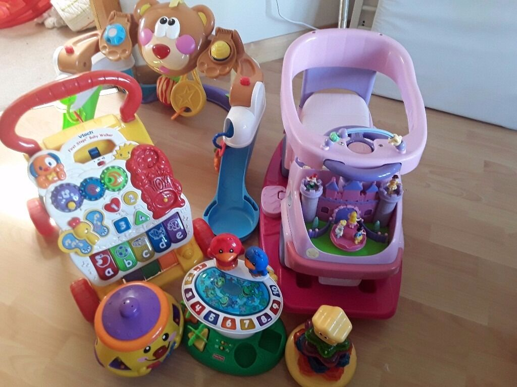 Baby toys bundlein Newtownards, County DownGumtree - As seen in the picture baby play gym suitable from newborn,baby walker,Disney Princess ride on car with rocker and 3 smaller baby toys with sounds and lights