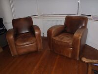 Two Leather Armchairs for sale Odeon style