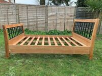 New Solid Teakwood & Iron 4ft6 Double Size Bed Frame - Heavy & Substantial