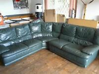 Corner sofa green leather