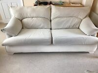 3 seater sofa and 2 armchairs, in cream suede type fabric, exceptionally comfortable