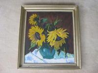 Antikes Ölgemälde Sonnenblumen Holzrahmen Gemälde Bild Wandbild Bayern - Würzburg Vorschau