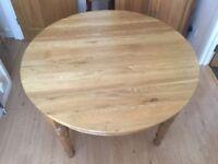 Solid oak circular dining Room table