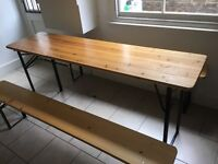 Solid wood trestle table and 2 benches for sale