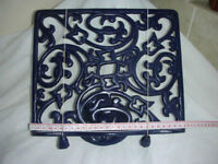 BLUE CAST IRON COOKERY BOOK STAND.