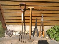 Collection of four garden tools