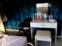 White dressing table, with an attached mirror, pull out draw. Include real leather stool