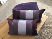 Pair of Next velvet panel cushions and matching throw