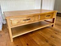 Coffee Table - Oak with draws and shelf