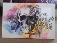 Skull and flowers canvas