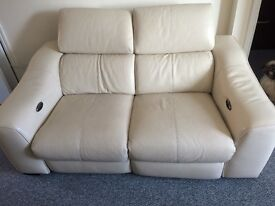 2 seater leather recliner cream sofa and leather swivel chair