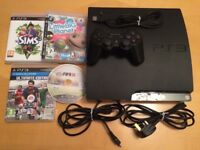 PS3 (Sony PlayStation 3) Slim 320GB, Sony wireless controller & 4 games