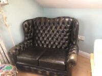 Two seater high backed chesterfield