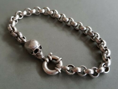 RARE ONE OF A KIND vintage AMAZING MEMENTO MORI & skull SILVER Bracelet