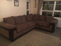 L shaped sofa and swivel chair
