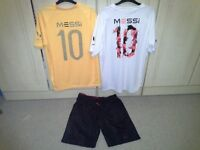 2 X MESSI ' 10 ' sports tops, 1 white and 1 yellow, age 13/14 yrs, + Messi 10 black short