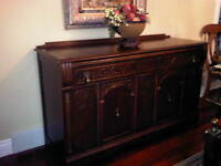Solid Antique style dining set, hutch, Buffet
