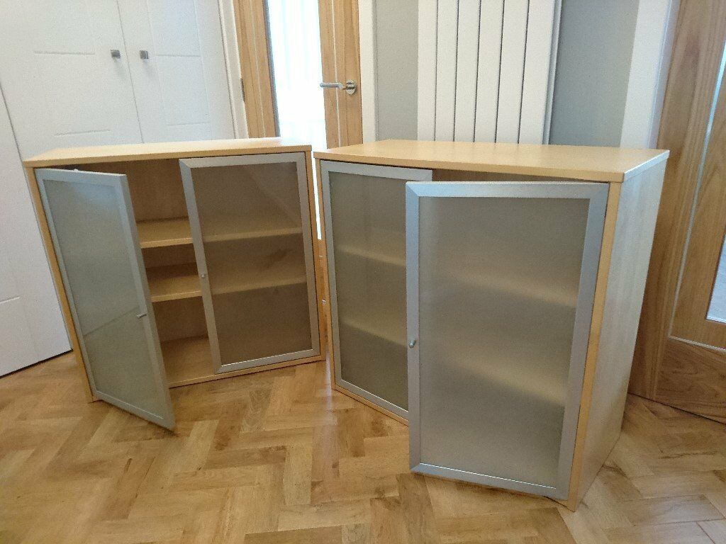 Wall cabinets pair of ikea cabinets each fitted with two shelves and frosted glass doors