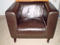LARGE FAUX LEATHER CLUB ARMCHAIR