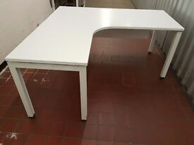 White Herman Miller office desks, 2 x corners and a standard.