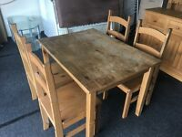 Indian pine Table and 4 chairs (FREE DELIVERY)