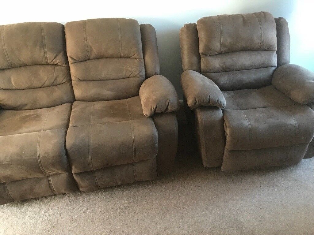 Reduced Due To Quick Sale Brown Suede 2 Seater Recliner