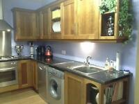 Complete kitchen (cherry wood) with white goods.