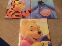 Nursery wall numbers and 3 x Winnie the pooh canvas pictures