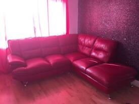 *REDUCED* Red leather corner sofa/couch