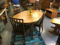 Retro McIntosh Dining Table and chairs - Extending dining room Danish G Plan Ercol Teak Oval