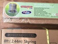 8ft sky ring trampoline and enclosure, new unopened