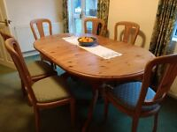 Dining room extendable pine table and 8 chairs