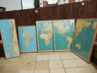 Stunning Large Joblot of Quality IGN Oak Framed Maps - Vintage Very large, Very Heavy.