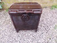 French wood burning stove in brown enamel