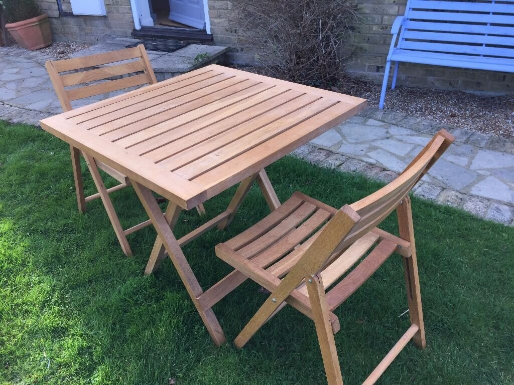 Garden Furniture Set With Table Two Chairs And Steamer Lounger Chair