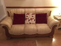 2 x 3 Leather Sofas and Matching Footstool